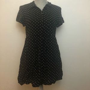 H&M Black & White Heart Polka Dot Shirt Dress